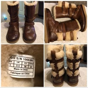 UGG BECKET boots Chestnut Leather Women Size 5